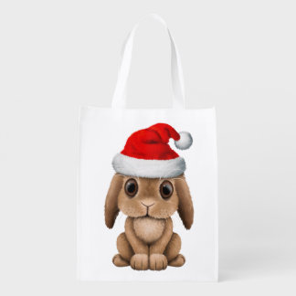 Baby Bunny Wearing a Santa Hat Reusable Grocery Bag