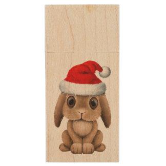 Baby Bunny Wearing a Santa Hat Wood USB Flash Drive