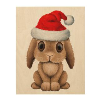 Baby Bunny Wearing a Santa Hat Wood Wall Decor