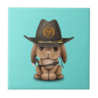Baby Bunny Zombie Hunter Tile