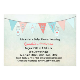Baby Bunting Flags, Mason Jars, Baby Shower Card