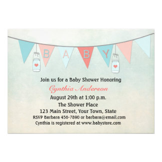 Baby Bunting Flags Mason Jars Baby Shower Personalized Invite