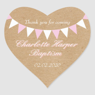 Baby Bunting Pink Baptism Christening Favour Heart Sticker