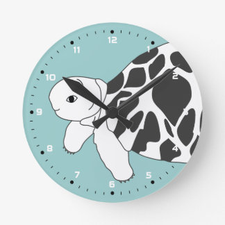 Baby Burmese Star Tortoise Wall Clock (blue)