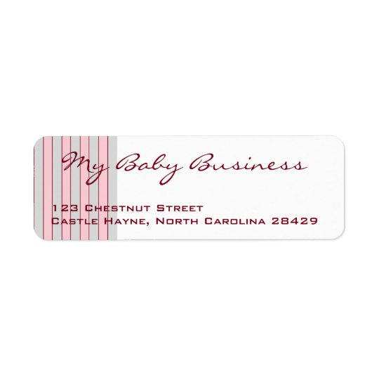 Baby Business Grey & Pink Return Address Labels