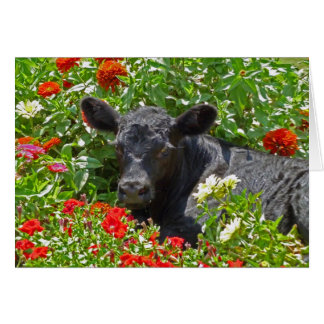 Baby Calf in the flowers Card