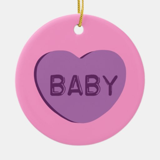 Baby Candy Heart Christmas Ornaments