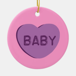 Baby Candy Heart Round Ceramic Decoration