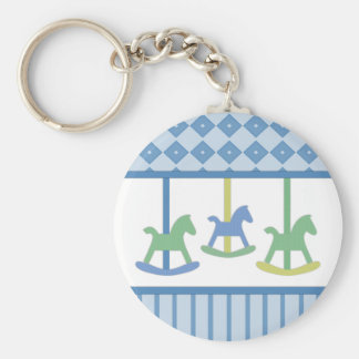 Baby Carousel Collection Blue Bkg. Basic Round Button Key Ring
