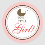 Baby Carriage Announcement Sticker (pink)
