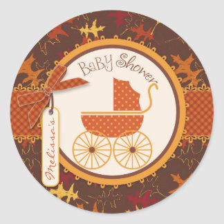 Baby Carriage & Autumn Leaves Print Baby Shower Round Sticker