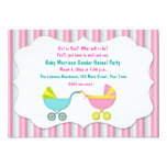 Baby Carriage Gender Reveal 13 Cm X 18 Cm Invitation Card