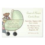 Baby Carriage Green 13 Cm X 18 Cm Invitation Card