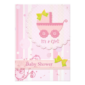 Baby Carriage It s a Girl Pink Baby Shower Invite