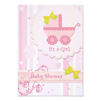 Baby Carriage It's a Girl! Pink Baby Shower 13 Cm X 18 Cm Invitation Card
