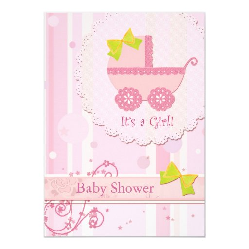 baby carriage it 39 s a girl pink baby shower invite zazzle