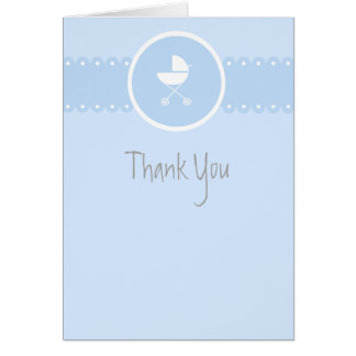 Baby Carriage Medallion Blue Thank You Note Note Card