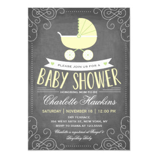 Baby Carriage | Neutral Baby Shower 13 Cm X 18 Cm Invitation Card