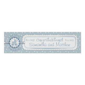 Baby Carriage & Pacifier Baby Shower Banner Boy Poster