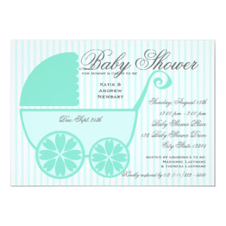 Baby Carriage Shower Turquoise and Gray Card