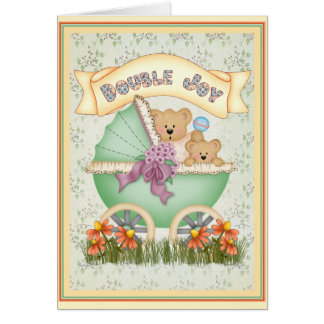 Baby Carriage Twins Greeting Card