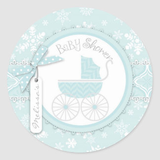 Baby Carriage & Winter Snowflake Print Baby Shower Classic Round Sticker