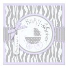 Baby Carriage, Zebra Print & Lavender Baby Shower Card