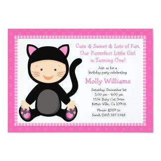 Baby Cat Birthday Party Invitation