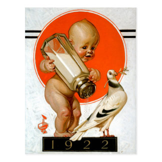 Baby Catching The Bird of Peace Postcard
