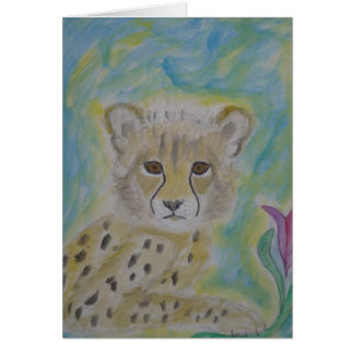 baby cheetah and flower card