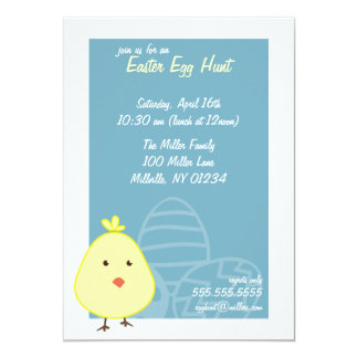 """Baby Chick Easter Egg Hunt Invitations 5"""" X 7"""" Invitation Card"""