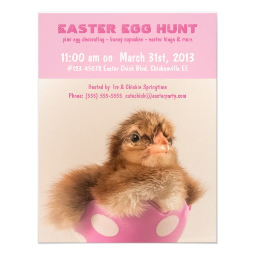 Baby Chick in Egg  Kids Easter Egg Hunt Personalized Invitations