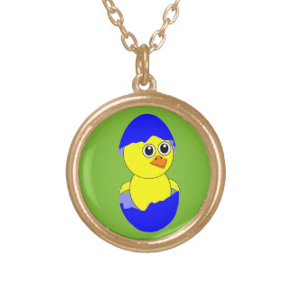 Baby Chick Maternity Baby Boy Blue Gold Plated Necklace