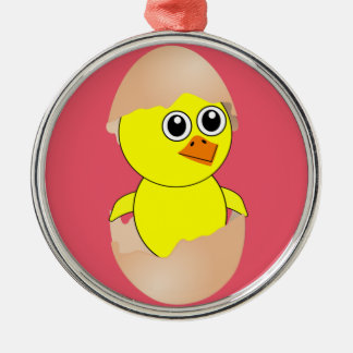 Baby Chick Maternity Silver-Colored Round Decoration