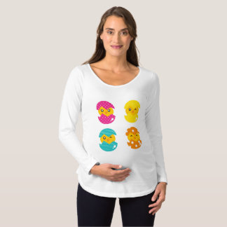 Baby Chicken Hatching out Maternity T-Shirt