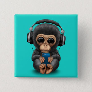 Baby Chimp with Headphones and Cell Phone 15 Cm Square Badge