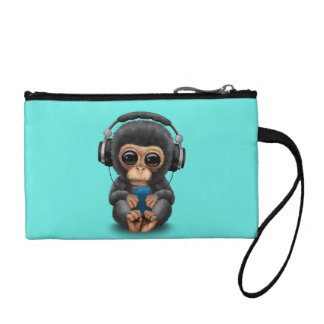 Baby Chimp with Headphones and Cell Phone Coin Purse