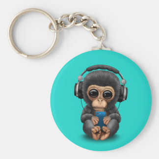 Baby Chimp with Headphones and Cell Phone Key Ring