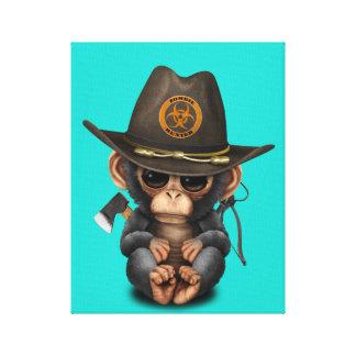 Baby Chimp Zombie Hunter Canvas Print