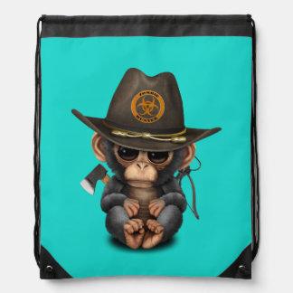 Baby Chimp Zombie Hunter Drawstring Bag