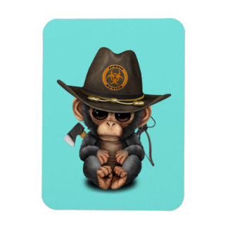 Baby Chimp Zombie Hunter Magnet