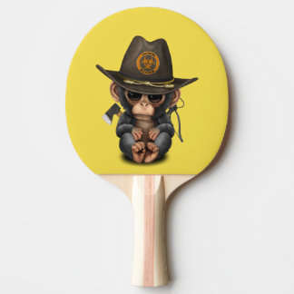 Baby Chimp Zombie Hunter Ping Pong Paddle