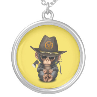 Baby Chimp Zombie Hunter Silver Plated Necklace