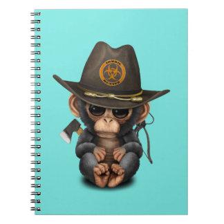 Baby Chimp Zombie Hunter Spiral Notebook