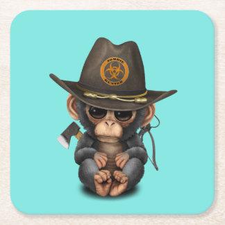 Baby Chimp Zombie Hunter Square Paper Coaster