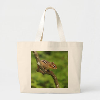 Baby Chipmunk in a Tree Large Tote Bag