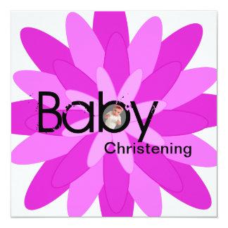Baby Christening Invitation Girl Pink Flower