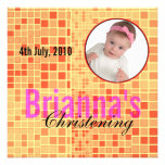 Baby Christening Invitation Mosaic Red