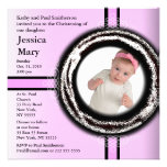Baby Christening Invitation Pink Circle