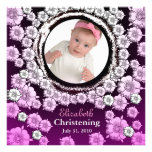 Baby Christening Invitation Pink Flower